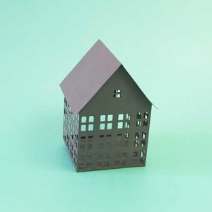 Candle Holder Tinplate Window House