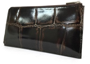 Genuine Leather Push Fastener Long Wallet
