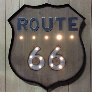 【SALE】LEDライティングウォールサイイン ROUTE66 WOODY
