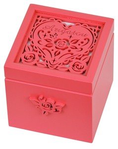 Wooden Melody Box Rose Thank You