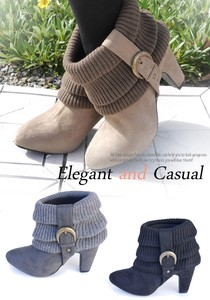 Smallish Heel Knitted Suede Bootie Short Boots