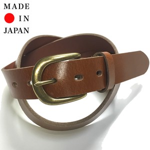 Oil Leather Harness Buckle Belt Gold