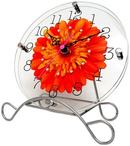 Art Flower Clock Unisex Clock/Watch Orange