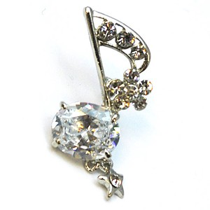 Glitter Brooch Musical Note Flower Star Crystal Fashion Accessory Gift