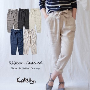 Cafetty Lady Ribbon Linen Tapered Pants Cool