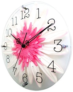 Art Flower Clock Wall Clock Pink