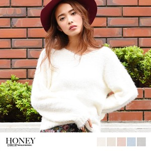 S/S V-neck Knitted Sweater Top