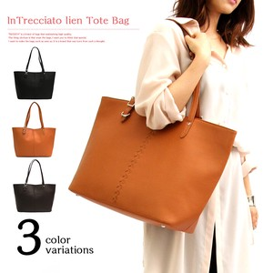 Line Fake Leather Tote Bag Business Casual