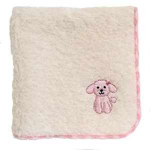 Towel handkerchief with a puppy embroidery!   / Pink Poodle