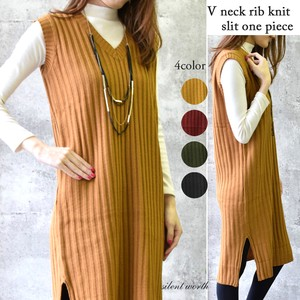 A/W V-neck Knitted Long One-piece Dress