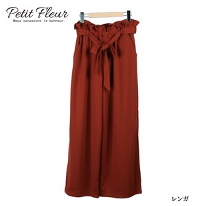 A/W Belt Attached Waist Frill ponte fabric Fabric wide pants Rule