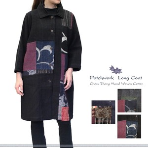 Weaving Cotton Lining Attached Patchwork Long Coat