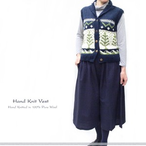 Hand Knitting Wool Nordic Tree Snow Motif Vest
