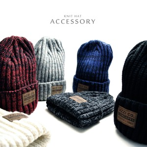 Leather Label Attached Knitted Hat Sense of volume Effect