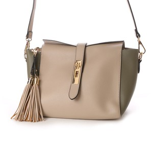 Inner Pouch Attached Linen Metal Fittings Shoulder Bag