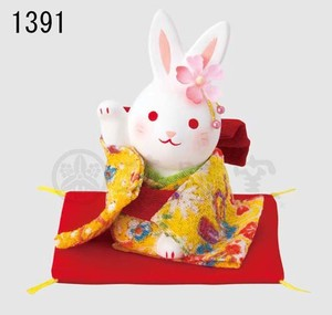 Ornament Kinsai Crape Flower Rabbit Right Hand