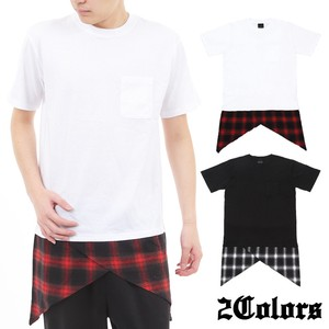 Jersey Stretch Short Sleeve Long Switching T-shirt Checkered