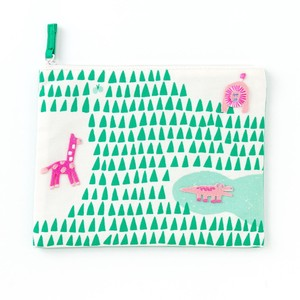 <アップリケ>AIUEO APPLIQUE play with FLAT POUCH AQWF-03 animal