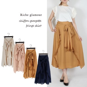 S/S Chiffon Fringe Attached Skirt