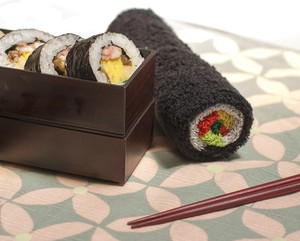 Sushi Roll Motif Towel