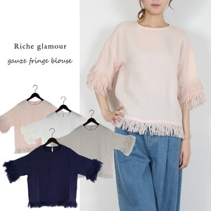 S/S Gauze Fringe Attached Blouse