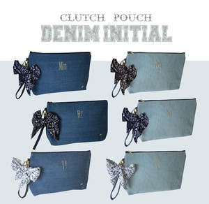 Denim Initial Clutch Pouch