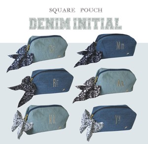 Denim Initial Square Pouch