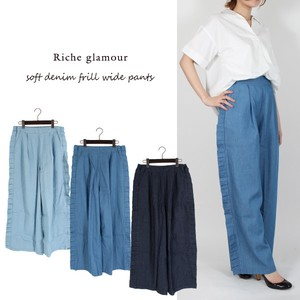 S/S Denim Frill wide pants