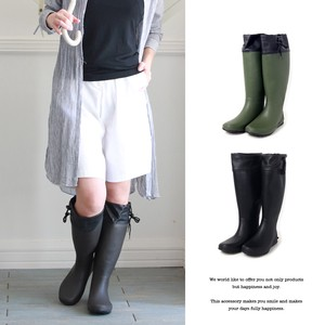 Pouch Attached Compact Rain Boots Shoe Shoe Folded Long Boots