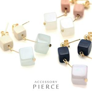 Double Square Stone Pierced Earring