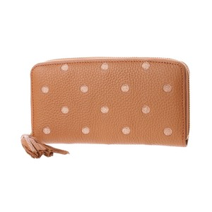 Genuine Leather Cow Leather Dot Embroidery Round Long Wallet