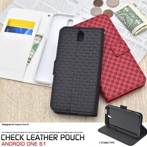 Smartphone Case Checkered Pattern Design Stand Case Pouch