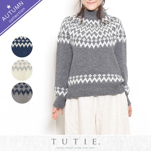 Angola Wool Knitted Nordic Sweater