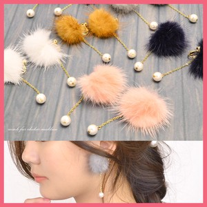 Gift Show Earring Ladies Mink Fur Fur Bonbon Real Fur