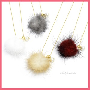 Gift Show Necklace Ladies Pearl Rhinestone Mink Fur