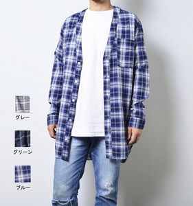 2017 A/W Checkered Shirt V-neck Long Sleeve Cardigan