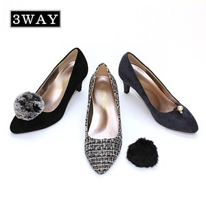 A/W 3WAY Fur Pearl Plain Pumps