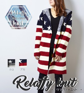 2017 A/W Ladies Stars And Stripes Long Long Sleeve Knitted Cardigan