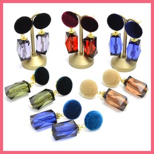 Gift Show Velour Button Square Beads Pierced Earring