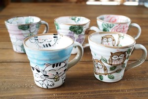 Hand-Painted Cup Cup Mino Ware Plates & Utensil Cat Owl Owl
