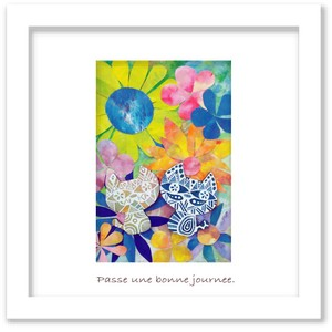 Gift Art Cat COLORFUL FLOWER