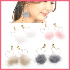 Gift Show Earring Ladies Heart Mink Fur Fur Bonbon