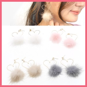 Gift Show Pierced Earring Ladies Heart Mink Fur Fur Bonbon