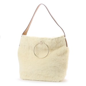 Ring Handle Fur Shoulder Bag