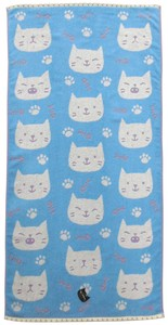 Pastel Jacquard Bathing Towel Blue