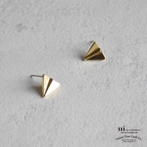 Pierced Earring Airplane Plan Gold