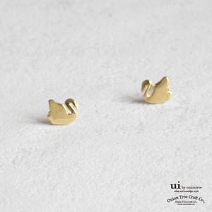 Pierced Earring Swan Bird Swan Gold