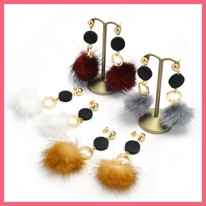 Wood Circle Mink Fur Pierced Earring