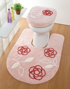 Embroidery Attached Toilet Mat Pink