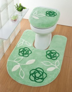 Embroidery Attached Toilet Mat Green